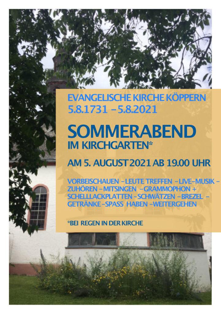 Einladung zum Sommerabend im Kirchgarten